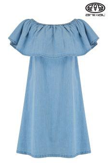 Animal Senorita Chambray Blue Bardot Woven Dress