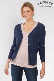 Fat Face Navy Organic Cotton Rose Cardigan