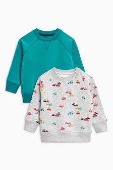Car All Over Print Crews Two Pack (3mths-6yrs)