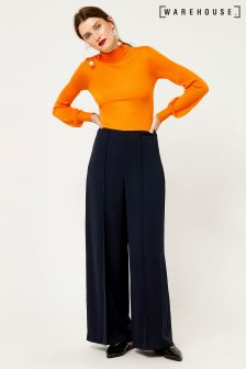 Warehouse Navy Pintuck Wide Leg Trouser