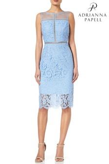 Adrianna Papell Blue Sleeveless Metallic Lace Sheath Dress