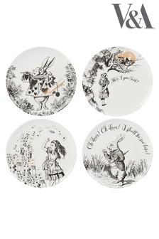 Set of 4 V & A Alice In Wonderland Side Plates