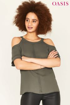 Oasis Green Halter Frill Cold Shoulder Shirt