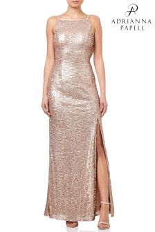 Adrianna Papell Nude Halter Sequin Dress