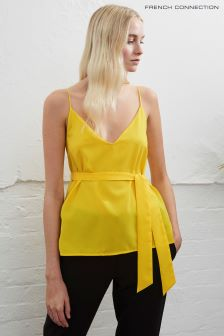 French Connection Yellow Dalma Crepe Light Strappy Top