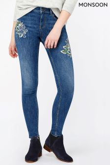 Monsoon Indigo Afina Embroidered Skinny Jean