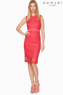 Damsel Pink Grid Lace Dress