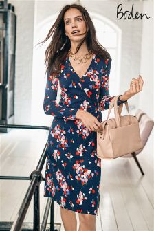 Boden Navy Tulip Wrap Jersey Dress