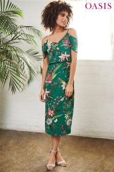 Oasis Green Secret Garden Midi Dress