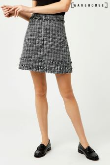 Warehouse Black/White Mono Tweed Pelmet Skirt