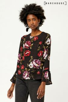 Warehouse Black Country Rose Grosgrain Cuff Top