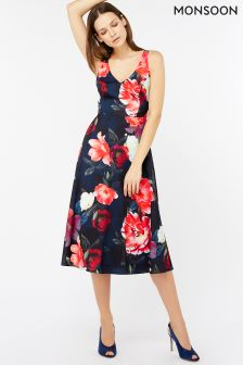 Monsoon Blue Rosa Fit And Flare Dress