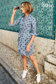 Boden Navy Spot On Stripe Modern Shirt Dress