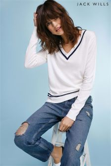 Jack Wills White Bigbury V-Neck Jumper