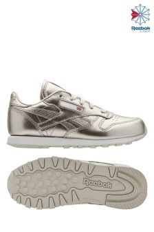 Reebok Metallic Silver White Classic Leather Trainer