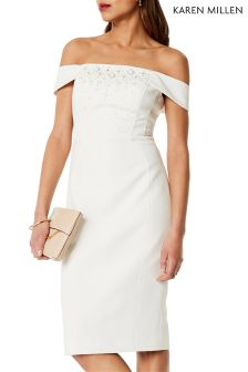 Karen Millen White Beaded Bardot Dress