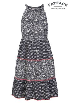 FatFace Navy Edith Ditsy Fish Dress