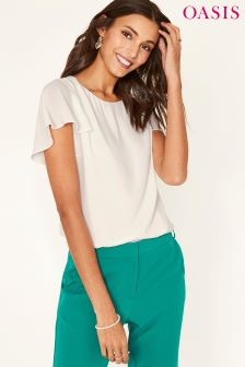 Oasis White Cape Sleeve Top