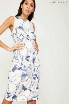 Mint Velvet White Yasmine Print Pencil Dress