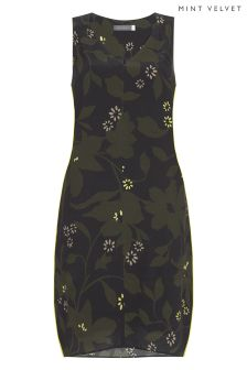 Mint Velvet Green Bethany Print Cocoon Dress