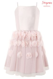 Monsoon Pink Rosalie Cascade Prom Dress
