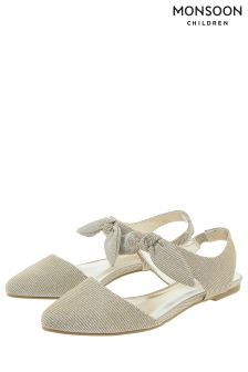 Monsoon Gold Storm Almond Toe Bow Flat Shoe