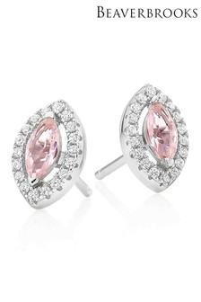 Beaverbrooks Silver Cubic Zirconia Synthetic Morganite Halo Stud Earrings