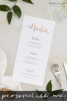 Personalised Script Foil Menu By Wedding Graphics