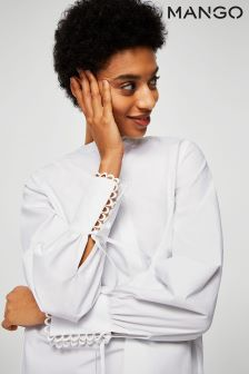 Mango White Shirt With Cuff Detail