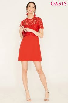 Oasis Orange Lace Bodice Shift Dress