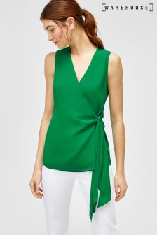 Warehouse Green Short Sleeve Knot Front Top