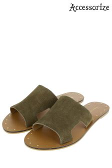 Accessorize Green Ellen Suede Slider Sandal
