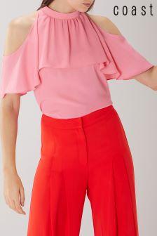Coast Pink Leighton Cold Shoulder Top