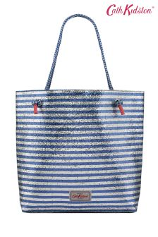 Cath Kidston® Blue Painted Glitter Striped Tote Bag