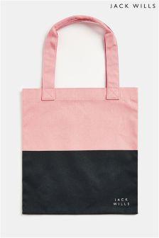 Jack Wills Pink Navy Ambleshire Book Bag