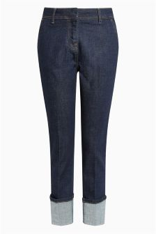 Tailored Turn-Up Straight Jeans