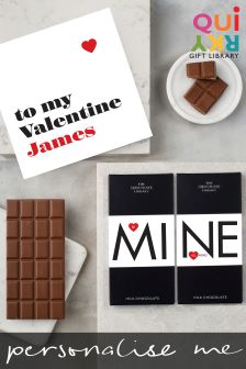 Personalised Valentines Card And Artisan Chocolate Bar Gift Set By Quirky Gift Library