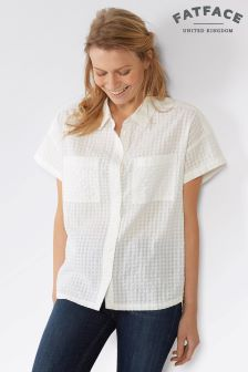 FatFace White Agnes Short Sleeve Shirt