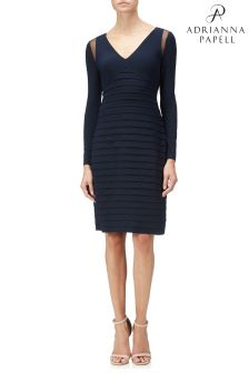 Adrianna Papell Blue Banded Long Sleeve Sheath Dress