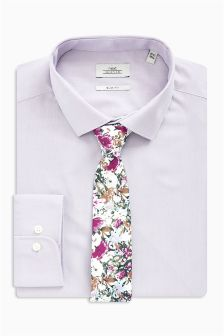 Slim Fit Shirt With Floral Tie Set