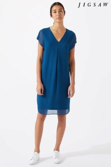 Jigsaw Blue Pleat Front Flare Dress