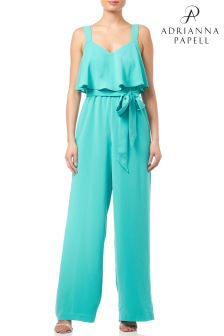 Adrianna Papell Teal PopOver Gauzy Crepe Jumpsuit