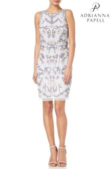Adrianna Papell Blue Halter Floral Beaded Cocktail Dress