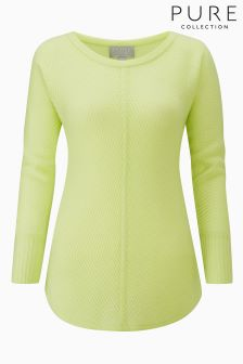 Pure Collection Green Cashmere Soft Ribbed Sweater