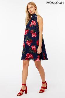Monsoon Blue Rosa Burnout Short Dress