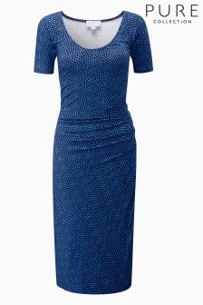 Pure Collection Blue Jersey Bardot Dress