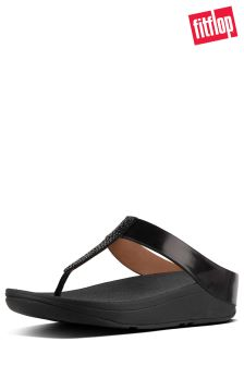 FitFlop™ Black Crystal FINO™ Toe Post Sandal