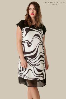 Live Unlimited Double Chiffon Wave Print Shift Dress