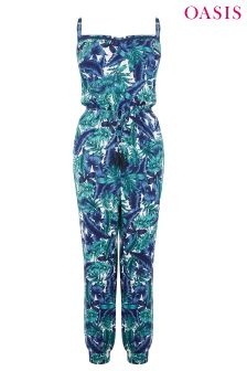 Oasis Blue Tropical Palm Jumpsuit