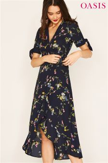 Oasis Blue Bouquet Bird Tie Sleeve Wrap Midi Dress